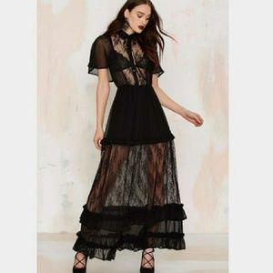 Re-Named Luella Black Lace Sheer Maxi Dress